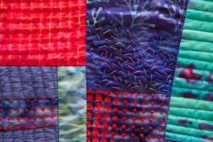 Improv Quilt #2 detail with French knots