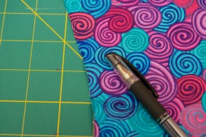 "Using your dark pen, draw a line down the left edge of the front side of each panel. Remember ""the Line is on the Left"" so that you know how to orient your panels and strips when you sew them together."