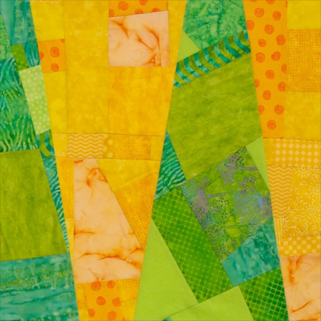 four colored panels, sliced and sewn back together