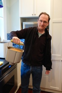 Chuck removing the Whole Wheat Ricotta bread from the bread machine