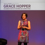 Lorrie speaking about passwords at Grace Hopper Celebration