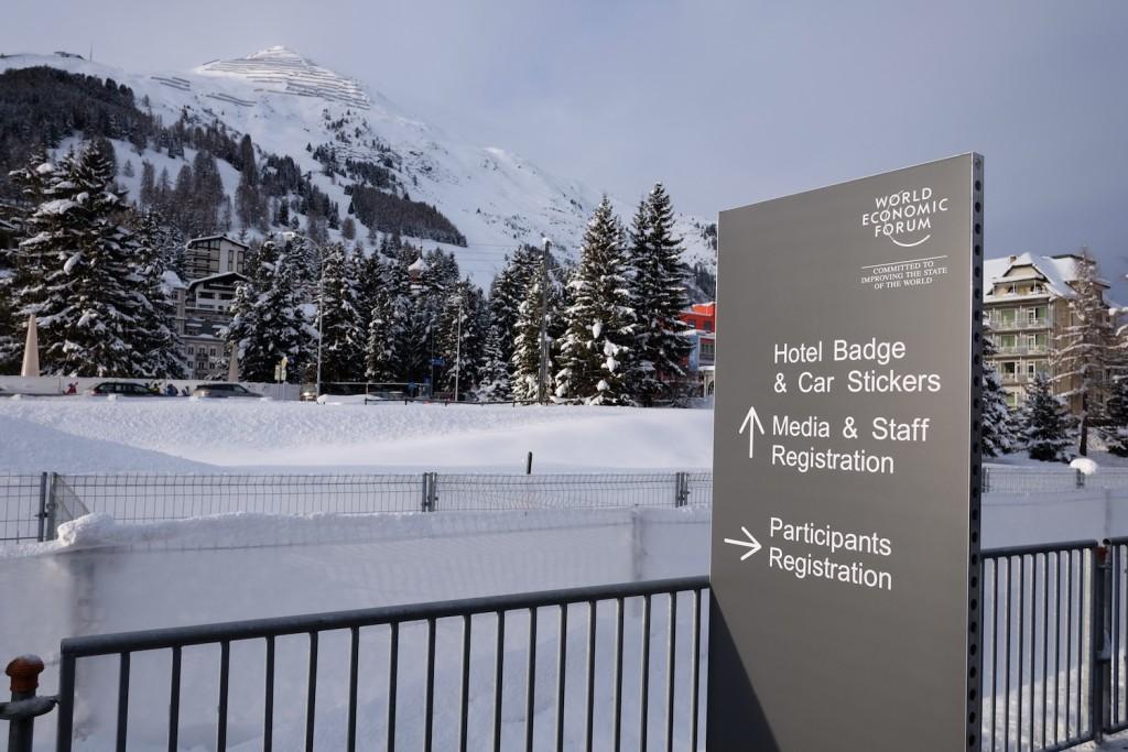 arriving at the registration center in Davos