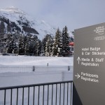 arriving at the registration center in Davos