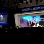 Hilde Schwab presents Crystal Award to Leonardo DiCaprio at WEF 2016