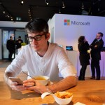 Anthony having lunch at Microsoft Lounge, WEF 2016