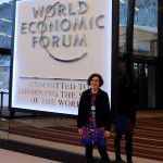Lorrie at Congress Centre main entrance, WEF 2016