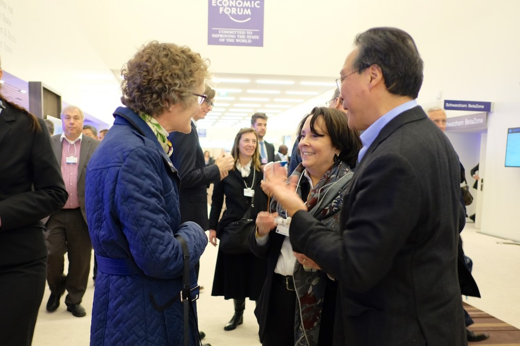 Mary Suresh with Yo-yo Ma and his wife in Congress Centre, WEF 2016